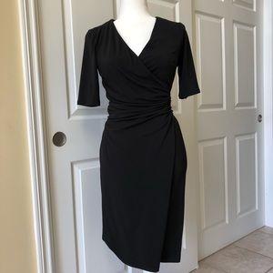 ANN TAYLOR Dress, Faux Wrap front, Black XS, NWT
